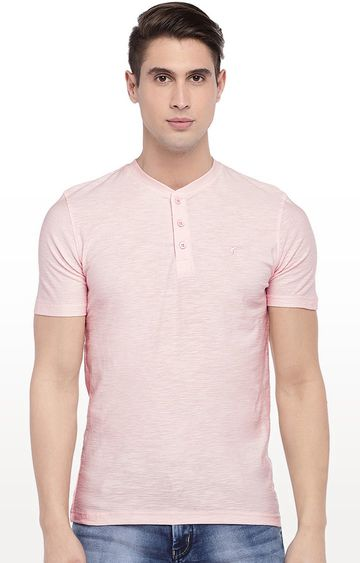globus | Pink Solid Henley Neck T-Shirt