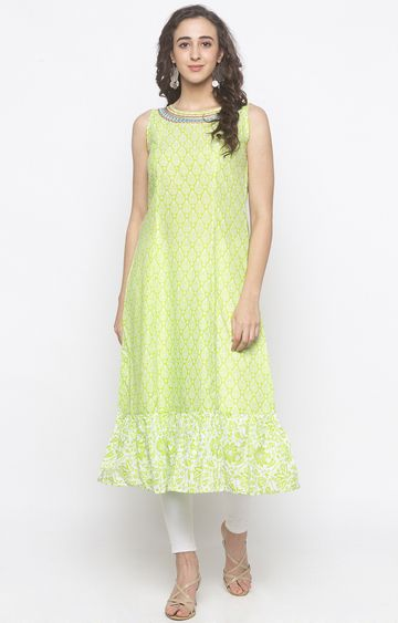 globus | Green Printed Anarkali