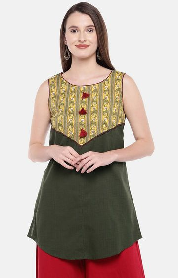 globus | Green Printed Regular Kurti