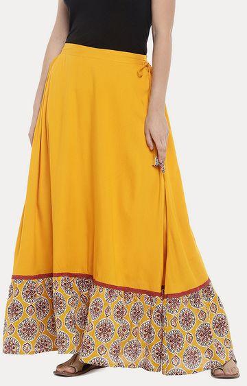 globus | Mustard Solid Pleated Skirt