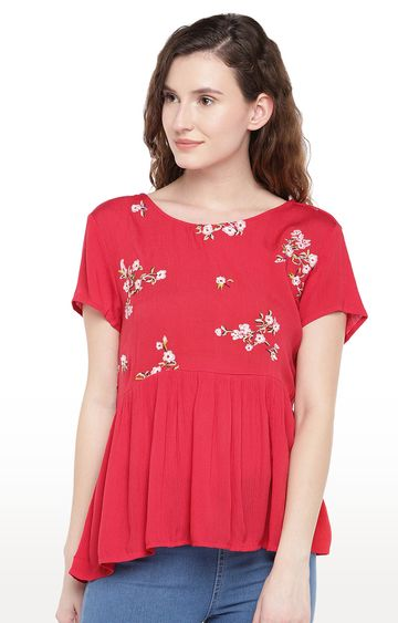 globus | Red Printed Peplum Top