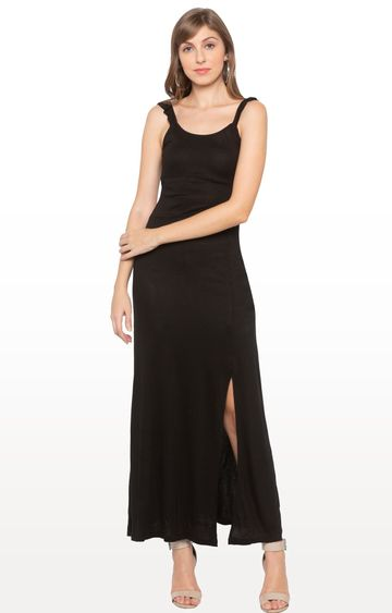 globus   Black Solid Maxi Dress