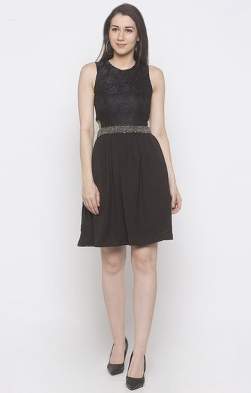 globus | Black Printed Skater Dress