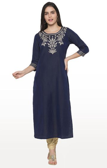 globus | Blue Embroidered Kurta