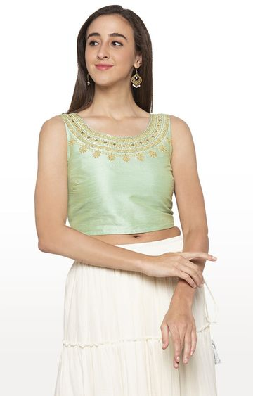 globus | Green Embroidered Crop Top