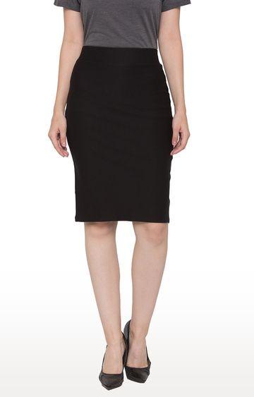 globus | Black Solid Straight Skirt