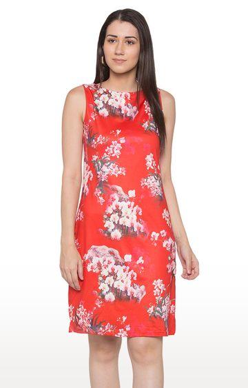 globus   Red Floral Shift Dress
