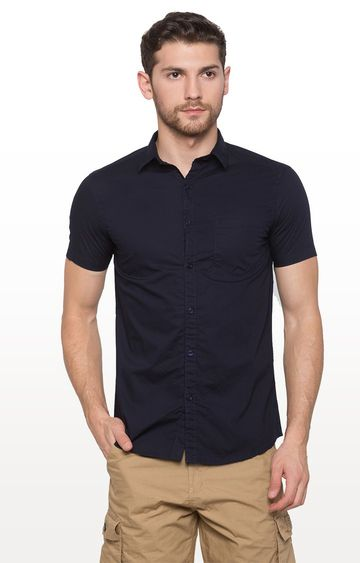globus | Blue Solid Casual Shirt