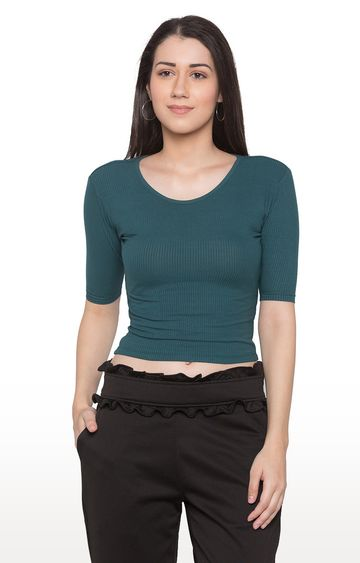 globus | Green Solid Crop Top