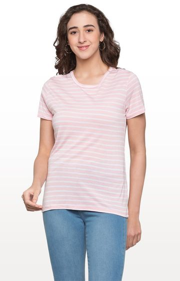 globus | Pink and White Striped Top