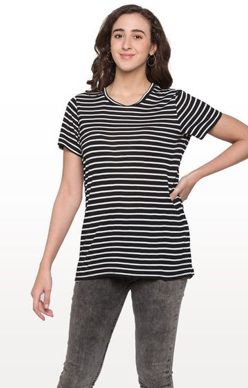 globus | Black and White Striped Top