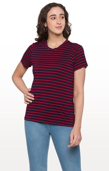 globus | Red and Navy Striped Top