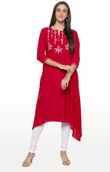 globus | Red Embroidered Asymmetric Kurta