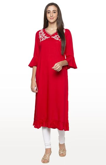 globus | Red Embroidered Kurta