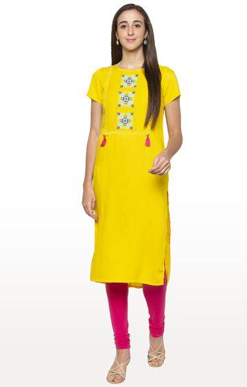 globus | Yellow Embroidered Kurta