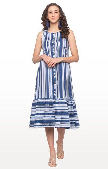 globus   Blue Striped Shift Dress