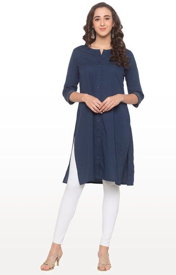 globus | Blue Solid Regular Kurti