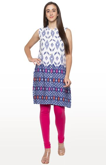 globus | White Printed Regular Kurti