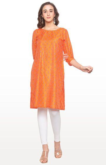 globus | Orange Printed Regular Kurti