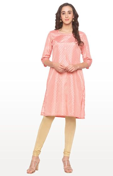 globus | Pink Checked Regular Kurti