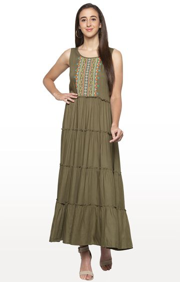 globus | Green Embroidered Maxi Dress