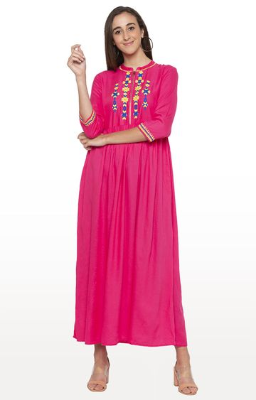globus | Pink Embroidered Maxi Dress