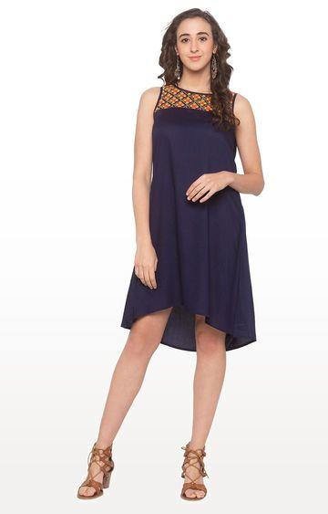 globus   Blue Embroidered Asymmetric Dress