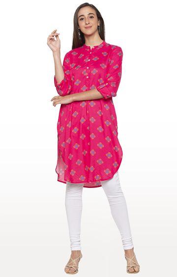 globus | Pink Printed Asymmetric Kurti