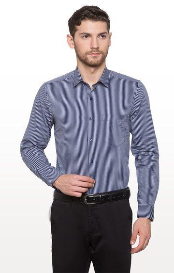 globus   Blue Striped Formal Shirt