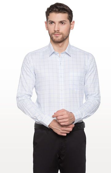 globus | White Checked Formal Shirt