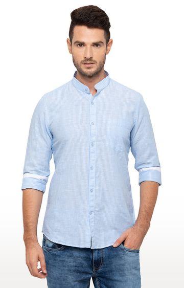 globus   Blue Striped Casual Shirt