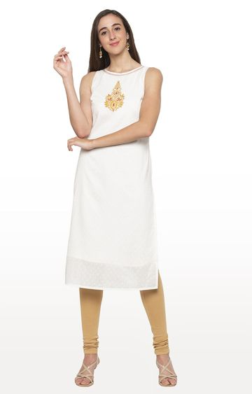 globus | White Embroidered Kurta