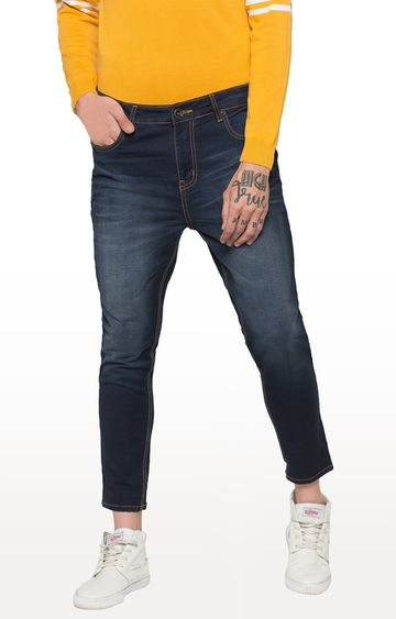 globus   Blue Solid Tapered Jeans