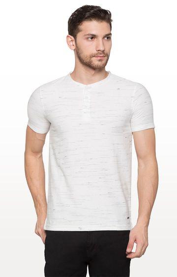 globus | Off White Melange Self Design T-Shirt