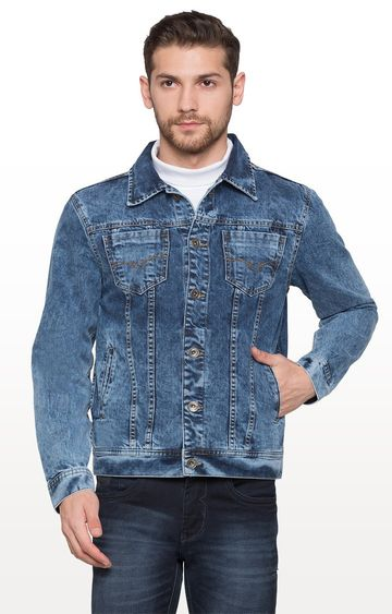 globus | Blue Solid Denim Jacket