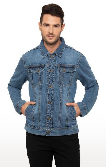 globus | Blue Solid Denim Jacket