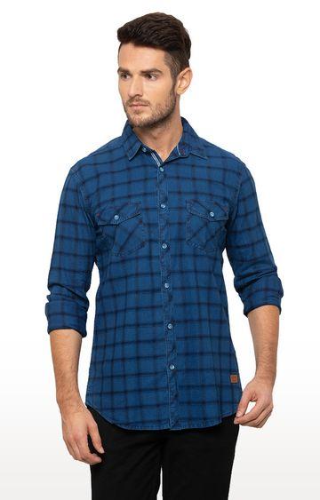 globus   Blue Checked Casual Shirt