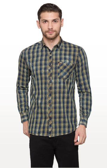 globus   Blue and Yellow Checked Casual Shirt