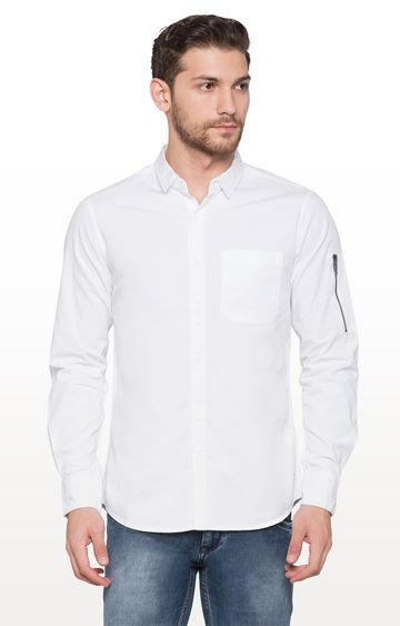 globus | White Checked Casual Shirt