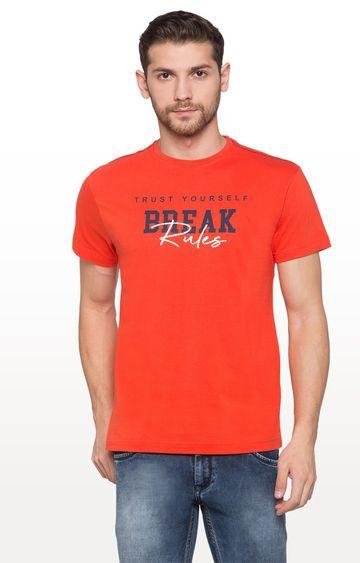 globus | Orange Printed Typography T-Shirt
