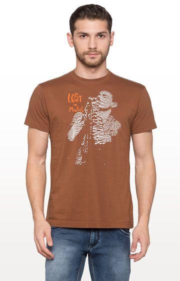 globus | Brown Printed Graphic T-Shirt