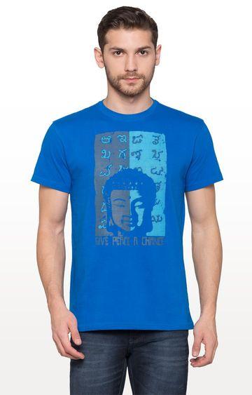 globus | Royal Blue Printed Graphic T-Shirt