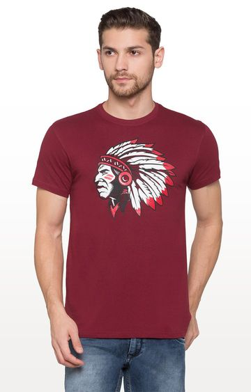 globus | Maroon Printed Graphic T-Shirt