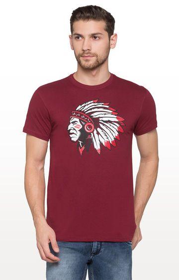 globus | Maroon Printed Graphic T-Shirt