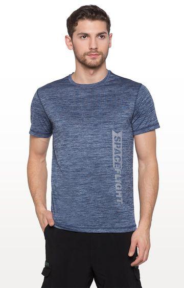 globus | Blue Melange Typography T-Shirt