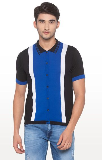 globus | Blue Colourblock Polo T-Shirt