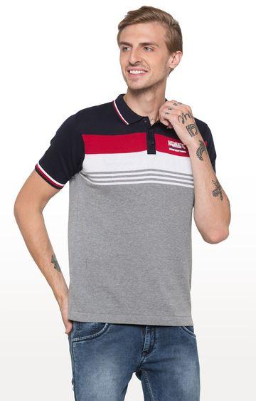 globus | Grey Striped Polo T-Shirt