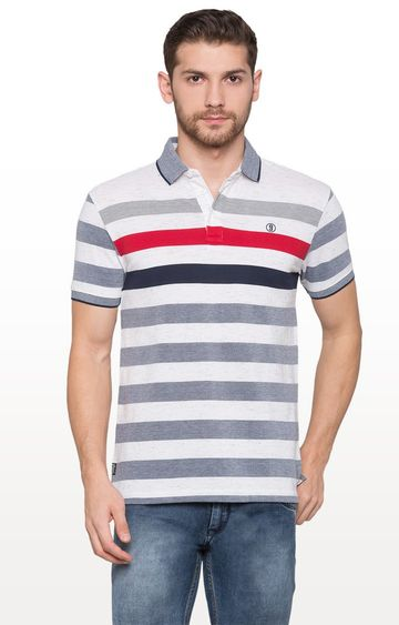 globus | White and Grey Striped Polo T-Shirt
