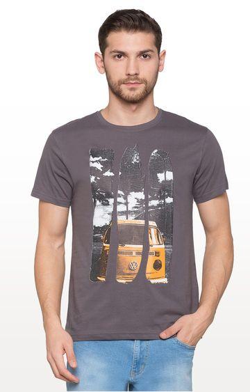 globus | Grey Printed Graphic T-Shirt