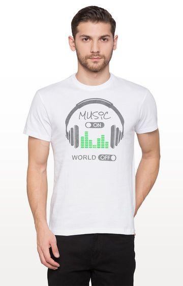 globus   White Printed Graphic T-Shirt